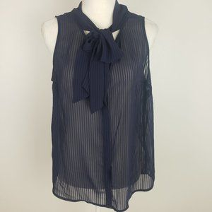 a new day Sleeveless Sheer Striped Blouse